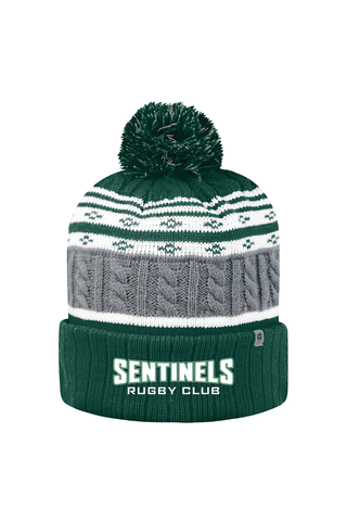 South River Sentinels Rugby Knit Striped Pom Beanie - Grey/White/Green  (Pre-Order)