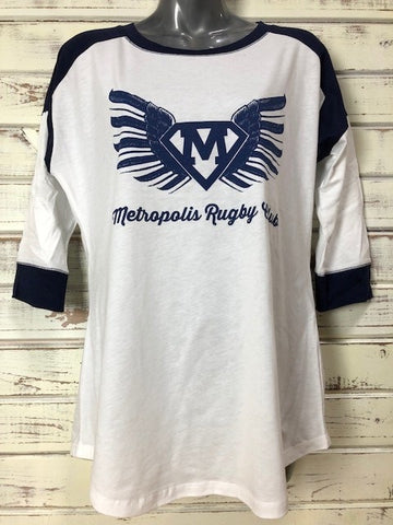 *Metropolis Rugby Ladies Baseball 3/4 Sleeve Shirt (Stock)