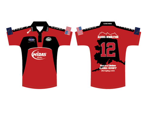 Alaska Rugby Ground Red BLK Polo (Pre-Order)