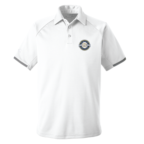 Des Moines RFC 50th - Under Armour Polo, White (Pre-Order 77249)
