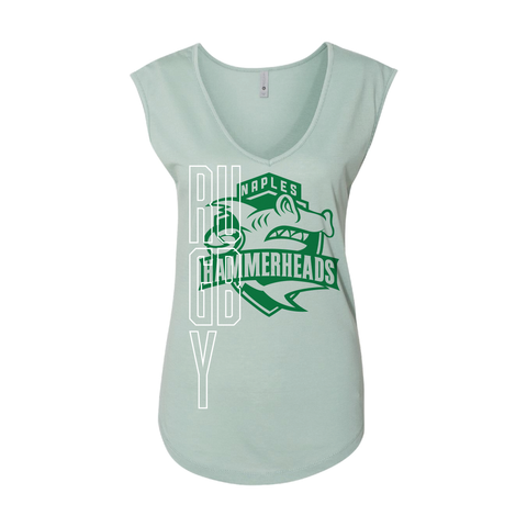 Naples Hammerheads Rugby - Ladies Festival Sleeveless V, Vertical Rugby Print (Pre-Order)