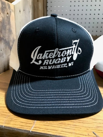 *Lakefront 7s Black and White Mesh Cap (RA)