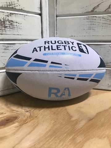 *White w/ Baby Blue + Navy Lines Rugby Ball - Size 5