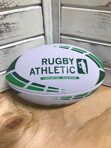 *White w/ Kelly Green + Forest Green Lines Rugby Ball - Size 5