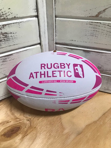 *White w/ Pink Lines Rugby Ball - Size 5