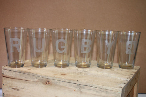 *RUGBY Pint Glass 6 Pack