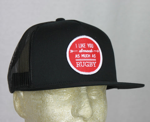 *PRL - I like You Almost as Much as Rugby Black Trucker Hat w/ RED Patch