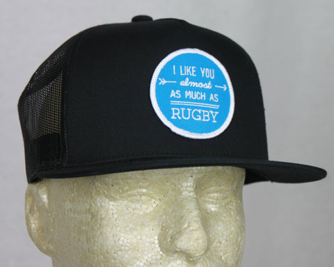 *PRL - I like You Almost as Much as Rugby Black Trucker Hat w/ BLUE Patch