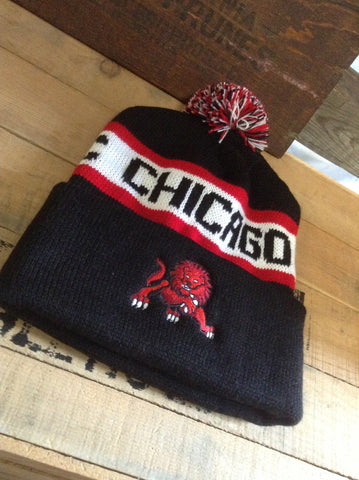 Chicago Lions Knit Cuffed Beanie with Pom