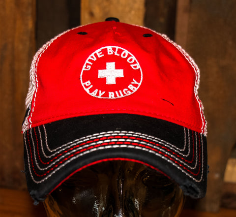 5239171d *Give Blood Play Rugby Hat - Mesh back – Rugby Athletic