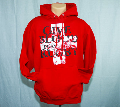 *Give Blood Play Rugby Hoodie / RED