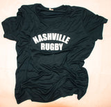 Nashville Rugby Black Women's Performance Tee (White Print)