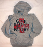 *Give Blood Play Rugby Hoodie (Grey)