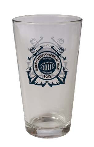 Coast Guard Rugby 16oz Pint Glass – Single (STOCK)