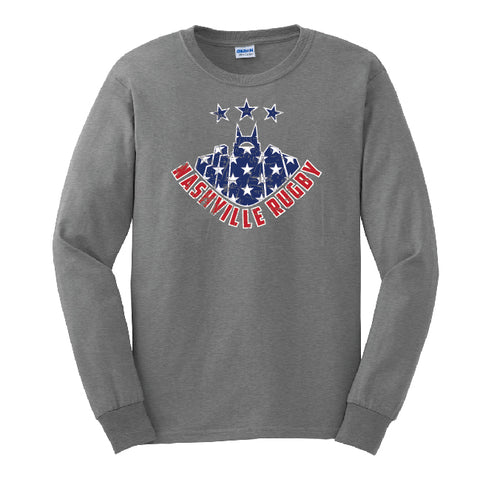 Nashville Rugby Long Sleeve Tee - Flag Print (PRE-ORDER)