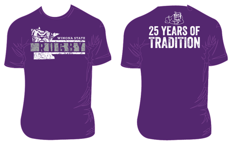 Winona State Rugby 25th Tee - Purple (STOCK)