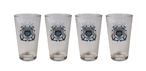 Coast Guard Rugby 16oz Pint Glass – 4 Pack (STOCK)