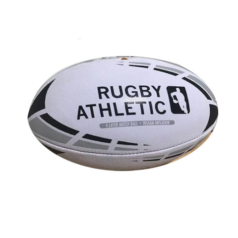 *White w/ Black + Grey Lines Rugby Ball - Size 5