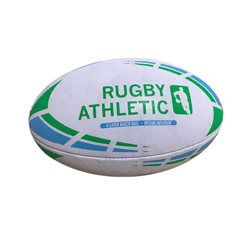 *White w/ Baby Blue + Lime Green Lines Rugby Ball - Size 5