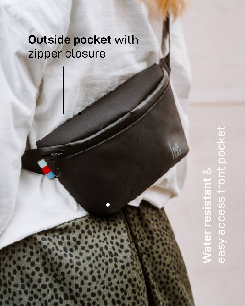 Double Zipper Sustainable Shoulder Bag