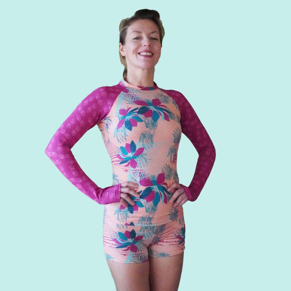 Load image into Gallery viewer, Rash Guard For Women in Peach Tropical Rhapsody Front