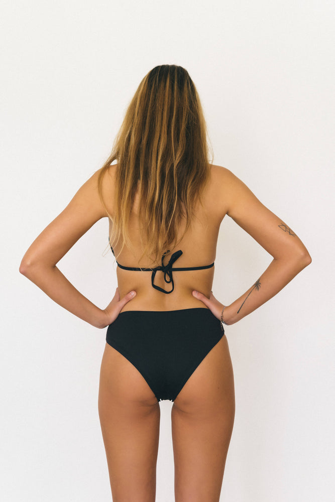 Load image into Gallery viewer, Sustainable triangle bikini top, black