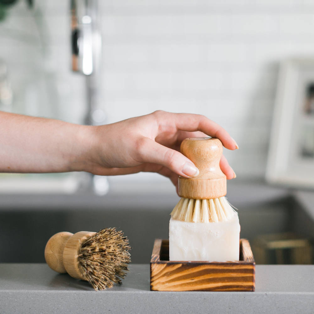 Sustainable bamboo kitchen dish brush