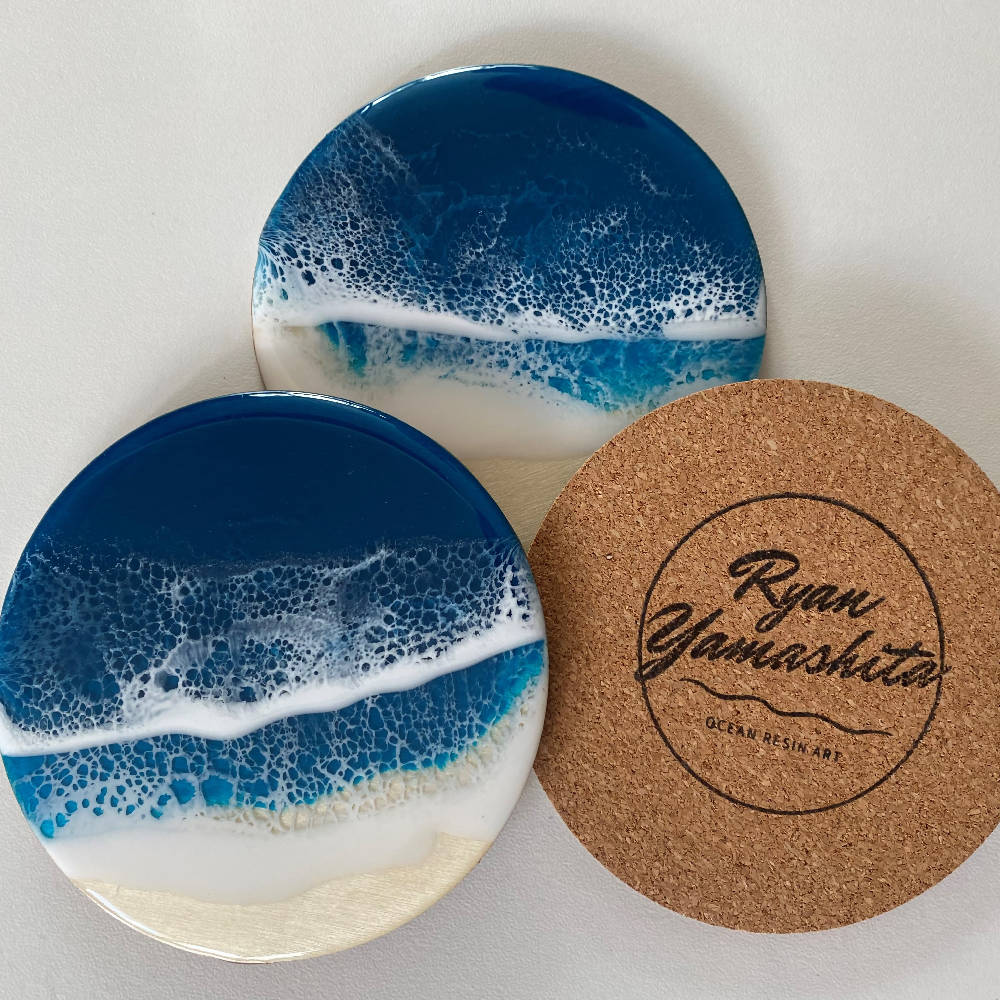Resin Art Ocean Coasters Set of three