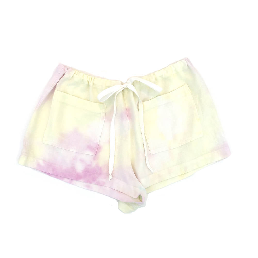 Tie-dye beach shorts, hand-dyed - white