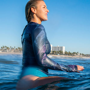 Surfer Wearing Second Skin Eco Friendly Rash Guard