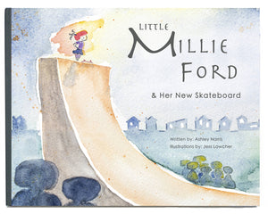 Little Millie Ford and Her New Skateboard