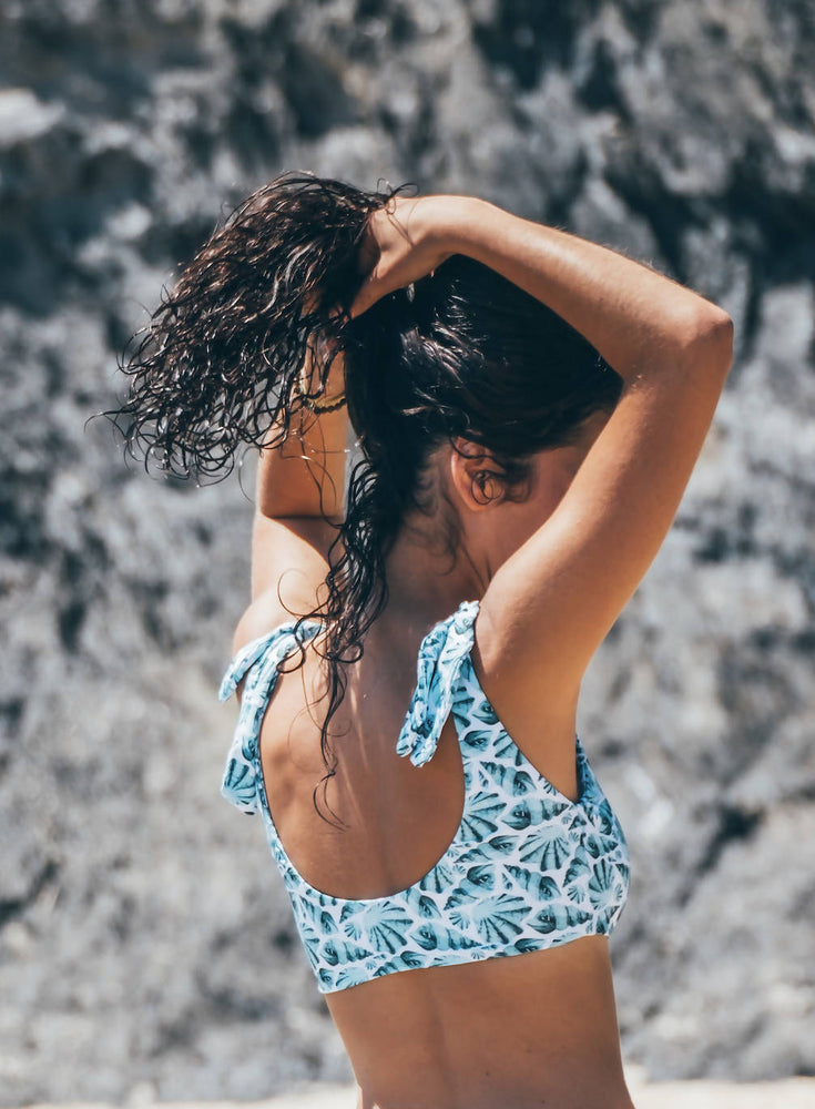 Sustainable swimwear, bikini top blue