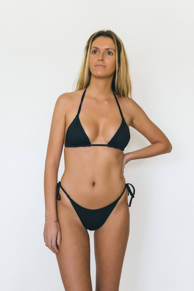 Load image into Gallery viewer, Side Tie Brazilian Black Bottom