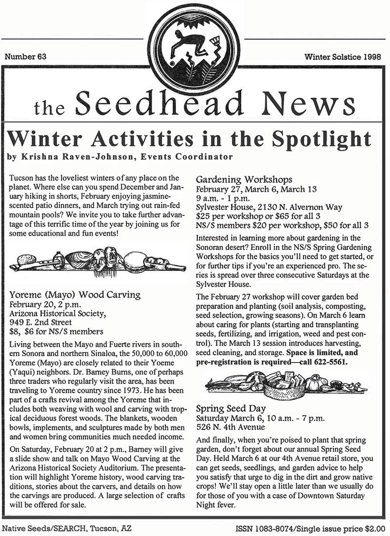 seedhead news no 63 winter solstice 1998