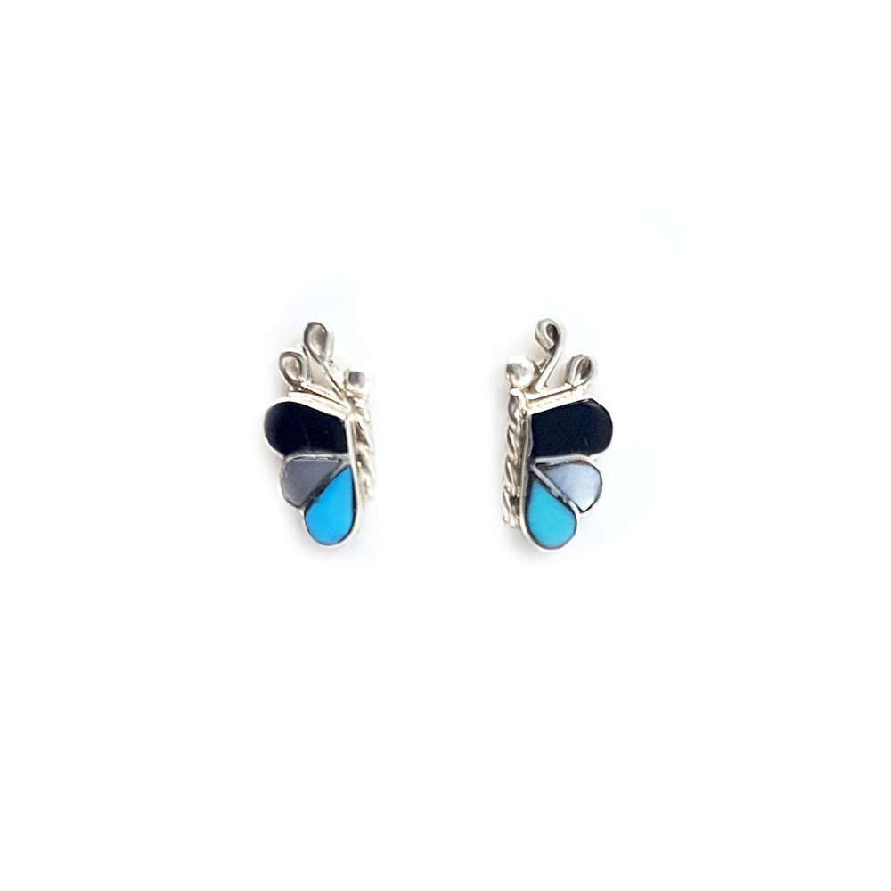 Zuni Butterfly Earrings: Turquoise, Jet and Mother of Pearl