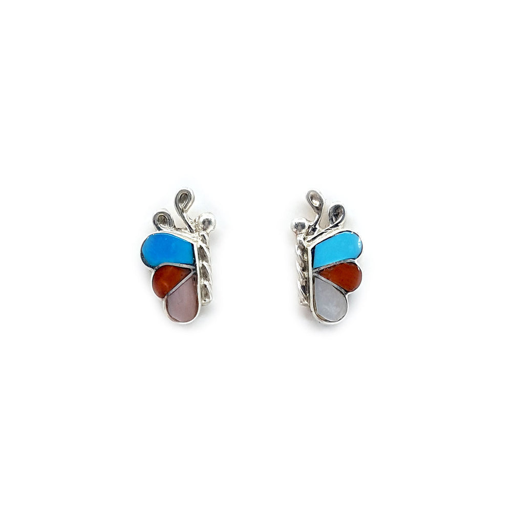 Zuni Butterfly Earrings in Turquoise, Coral and Mother of Pearl