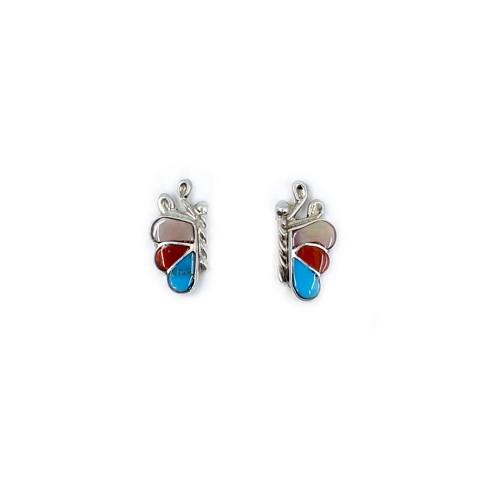 Zuni Butterfly Earrings in Pink Mother of Pearl, Coral andTurquoise