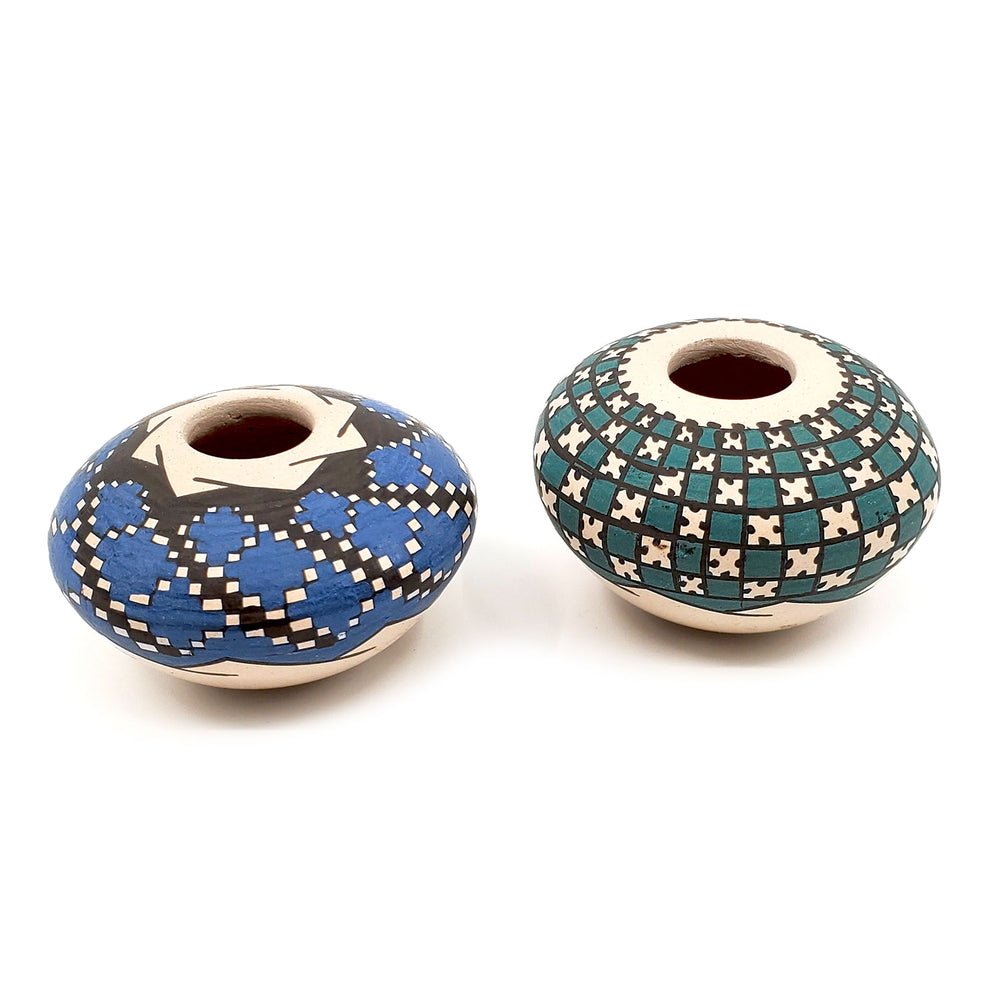 Mini Mata Ortiz Seed Pot - Green or Blue Checkerboard (Sold Individually)