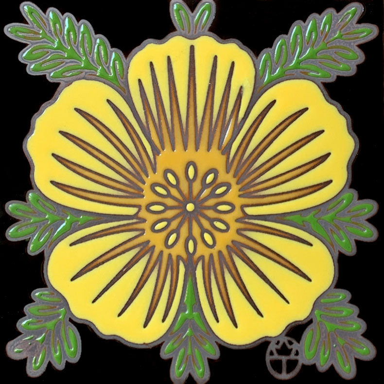 Wil Taylor Limited Edition Ceramic Tile - Desert Poppy Blossom