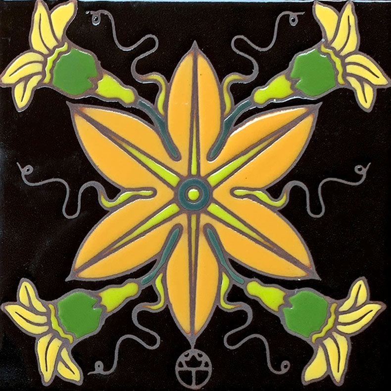 Wil Taylor Limited Edition Ceramic Tile - Finger Leaf Blossom