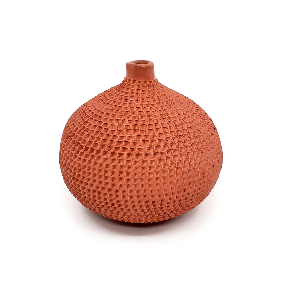 Large Mata Ortiz Pottery - Red Clay Dimpled Seed Pot