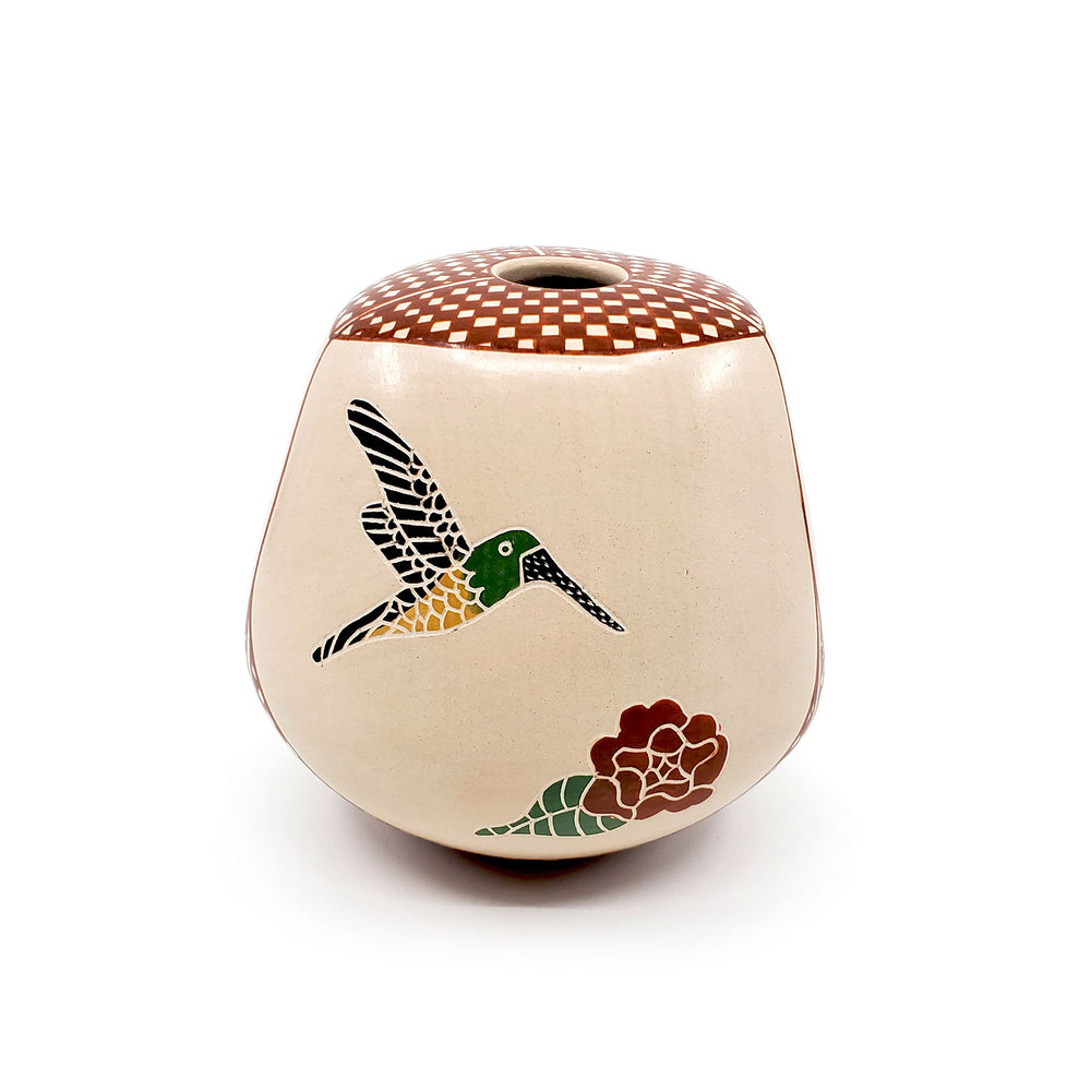 Large Mata Ortiz Pottery - Hummingbird with Flowers, Three Sided Shape