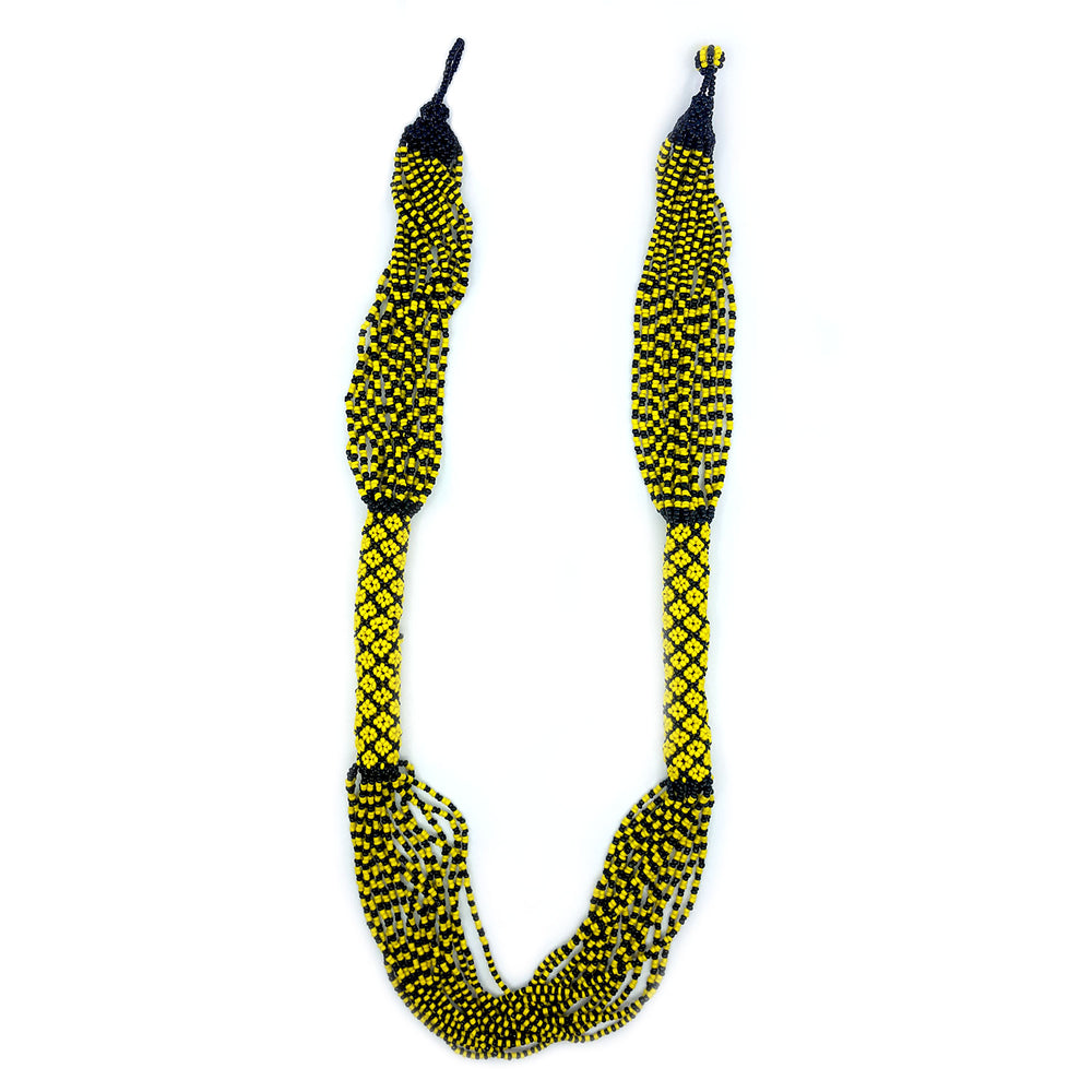 Huichol Woven Beaded Necklace - Yellow/Black