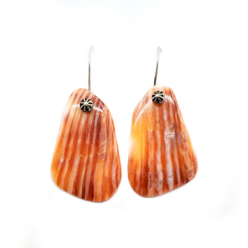 Spiny Oyster Shell Tab Earrings MEDIUM