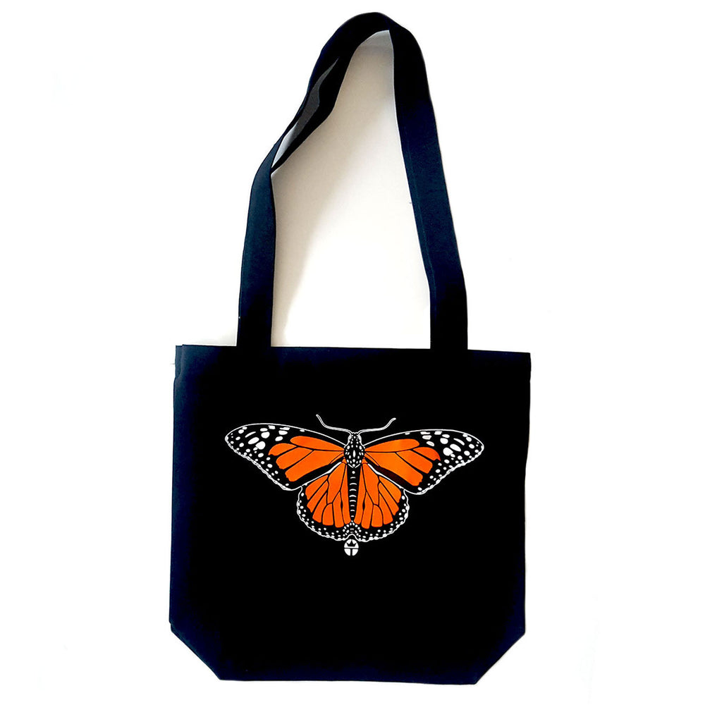 canvas tote bag with butterfly by tucson artist wil taylor