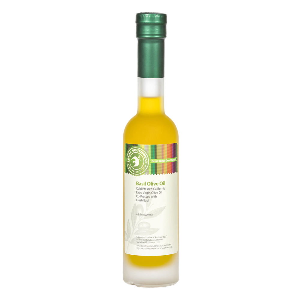 cold Pressed California Extra Virgin Olive Oil Co-Pressed with Fresh Basil, no artificial flavorings or additives.  Delicious drizzled on pasta or pizza!