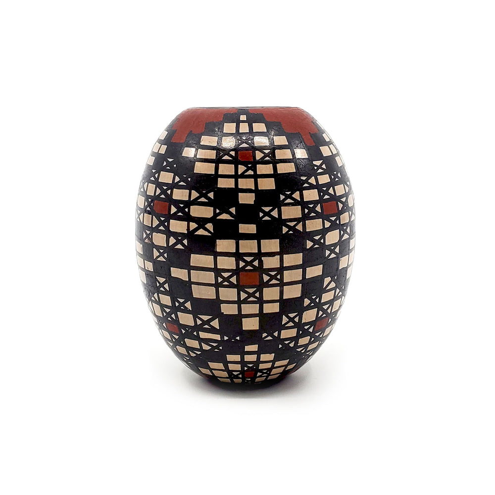Egg Seed Pot w/ Black & Red Geometric Design
