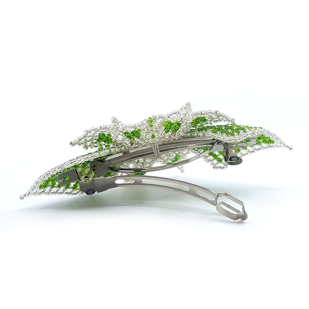 Flower Barrette - Lt. Green/Clear