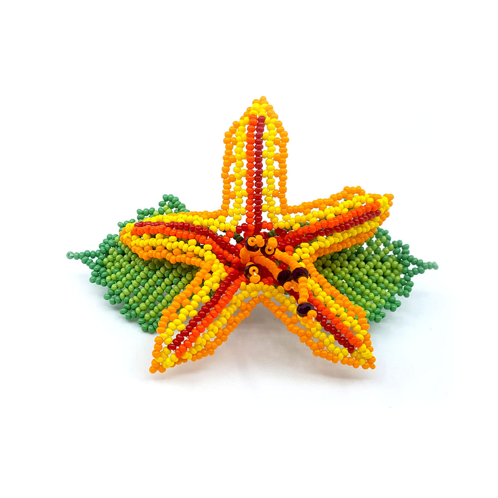 Flower Barrette - Yellow/Red