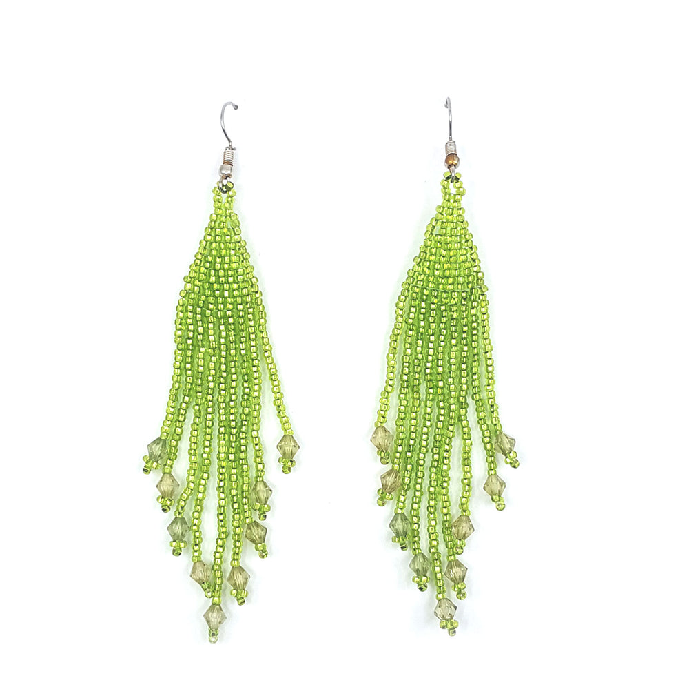 Beaded Fringe Earrings - Lt. Green